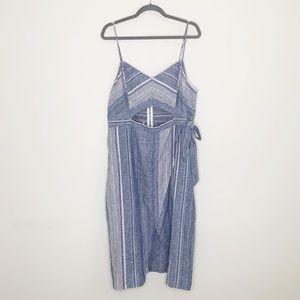 Express Striped Cut Out Linen Blend Midi Dress